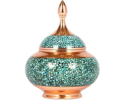 Persian Inlaid Turquoise Candy Pot code 18