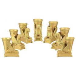 Set Of Haft-Sin Plates; Lion, Goat, Cow & Eagle