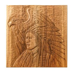 Backgammon Handmade Woodcarving Indian and Eagle