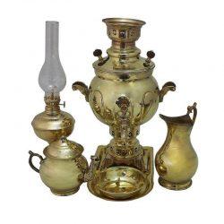 Set of 1.5 liter Persian Coal Brass Samovar Model b011