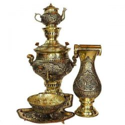 5 liter Engraved Persian Coal Samovar (Brass) S434
