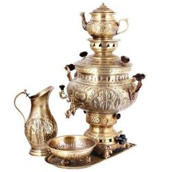 Set of 8 liter Persian Gas Brass Samovar 21