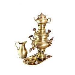 Set of 1 liter Persian Coal Brass Samovar 01
