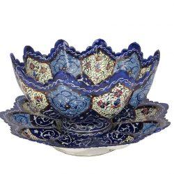 Persian MinaKari Hand Painted Pot & Plate Code 8824-12