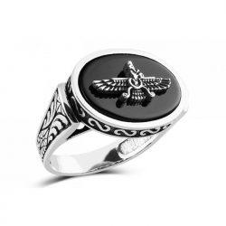 Engraved Faravahar Handmade Silver Ring Code S626