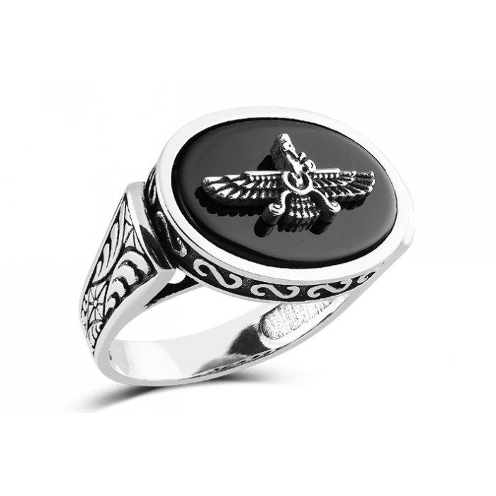 Faravahar Engraved Handmade Silver Ring