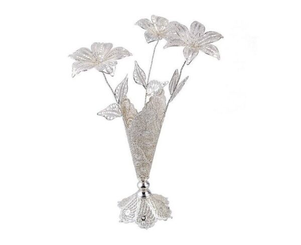 Persian Filigree Decorative Silver Flower & Pot
