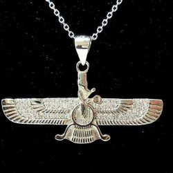 Engraved Faravahar Silver Medal with Necklaces Code S846