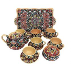 Set of Teapot, Pottery Cups, Tray & Candy pot