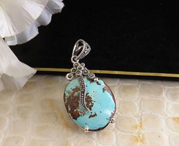 Handmade Silver Medal with Turquoise Neyshaburi, Code 27763