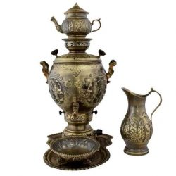 Set of 6 liter Handmade Gas Samovar (Brass)