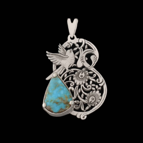 Engraved Handmade Silver Necklace with Natural Turquoise