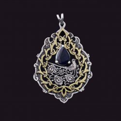 Engraved Sterling Silver Necklace With Sapphire