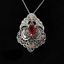 Engraved Sterling Silver Necklace With Ruby