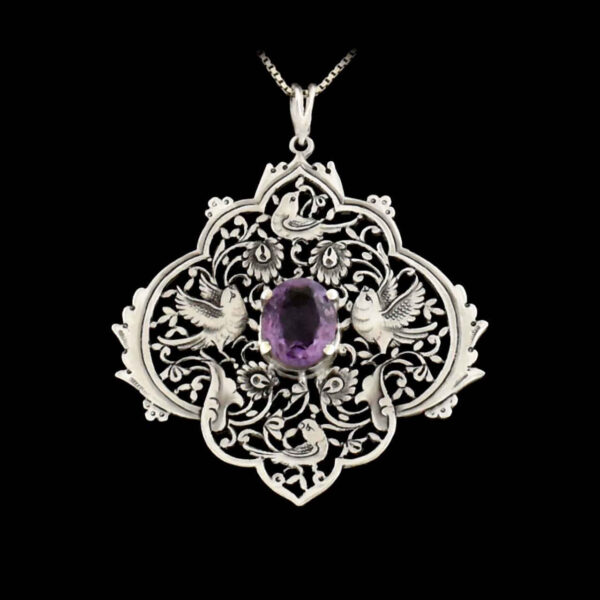 Engraved Handmade Silver Necklace with Natural Amethyst