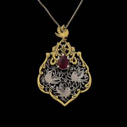 Engraved Handmade Silver Necklace with Ruby