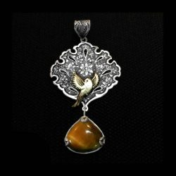 Engraved Handmade Silver Necklace with Natural tiger eye stone