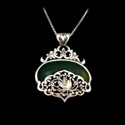 Engraved Handmade Silver Necklace with Natural Chrysoprase