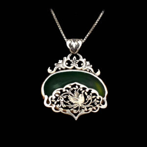 Engraved Sterling Silver Necklace With Chrysoprase