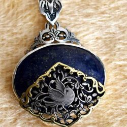 Engraved Handmade Silver Necklace with Azure