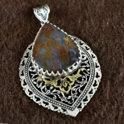 Engraved Handmade Silver Necklace with Opal