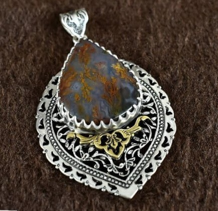 Engraved Sterling Silver Necklace With Opal