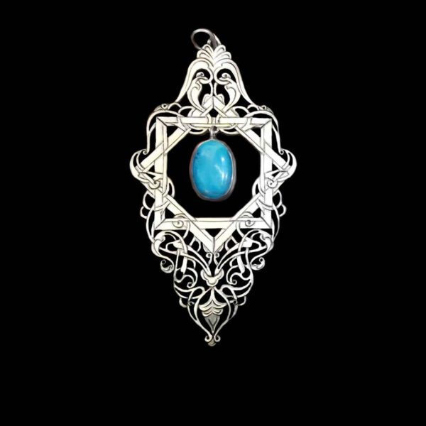 Engraved Handmade Silver Necklace with Turquoise Kerman