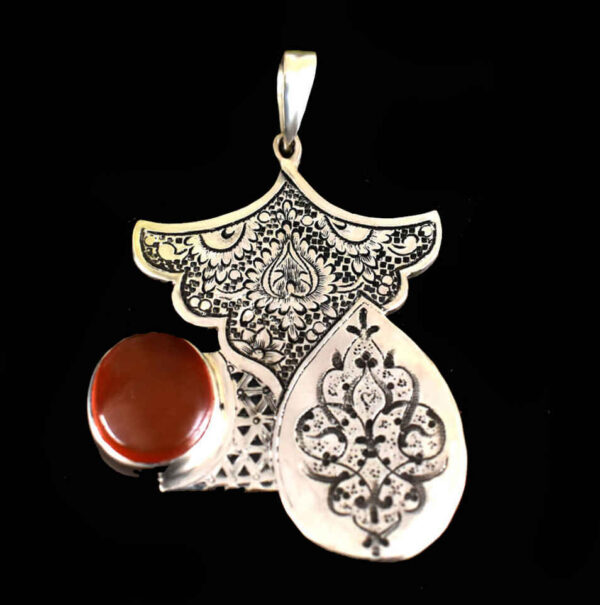 Engraved Sterling Silver Necklace With Red Opal