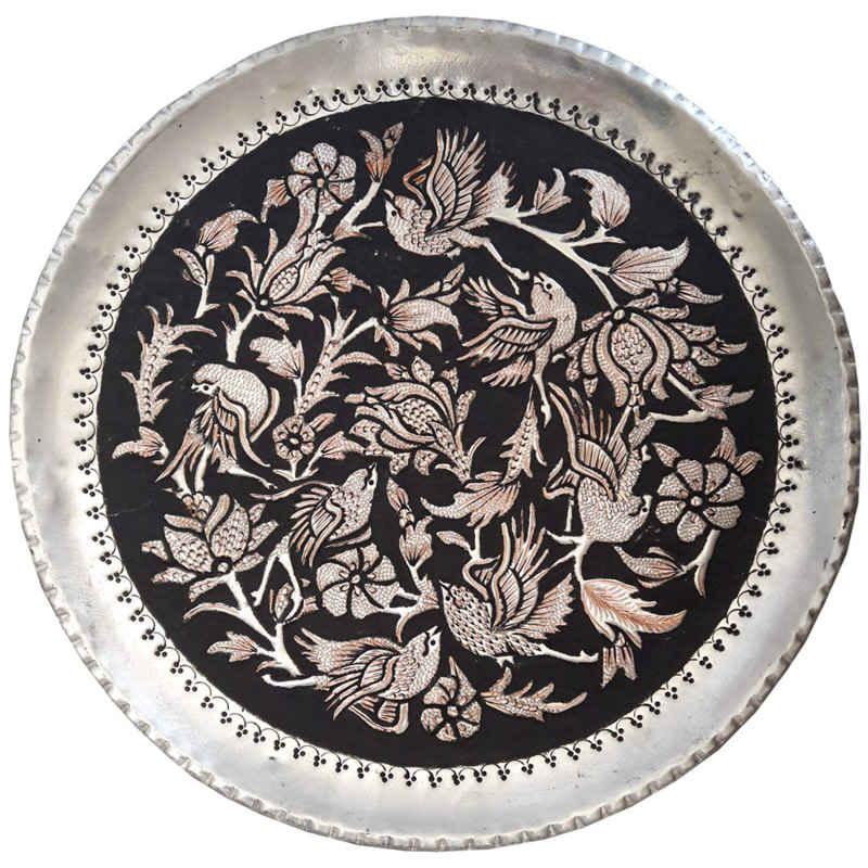 Engraved Persian Handmade Copper tray, Birds GHAPO43
