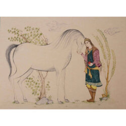 Persian Miniature Hand Painting, Boy & Horse