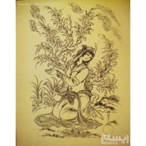Persian Miniature Hand Painting, Acrylic Girl