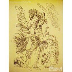 Persian Miniature Hand Painting, Acrylic Layla & Majnun