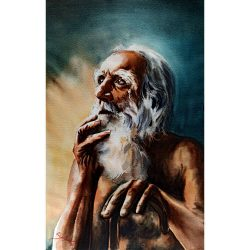 Persian Gouache Hand Painting, Old Man