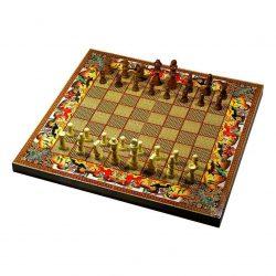 Handmade Chess & Backgammon Persian Khatam Board