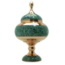 Turquoise Inlaid Persian Candy Sugar Nut Bowl 04