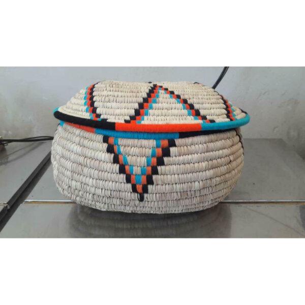 Vintage Persian Hand Woven Palm Leaf Basket 03