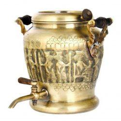 Persian Engraved Brass Samovar Kettle Model Achaemenid