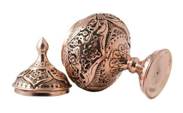 Engraved Persian Copper Candy Dish 3-14-116