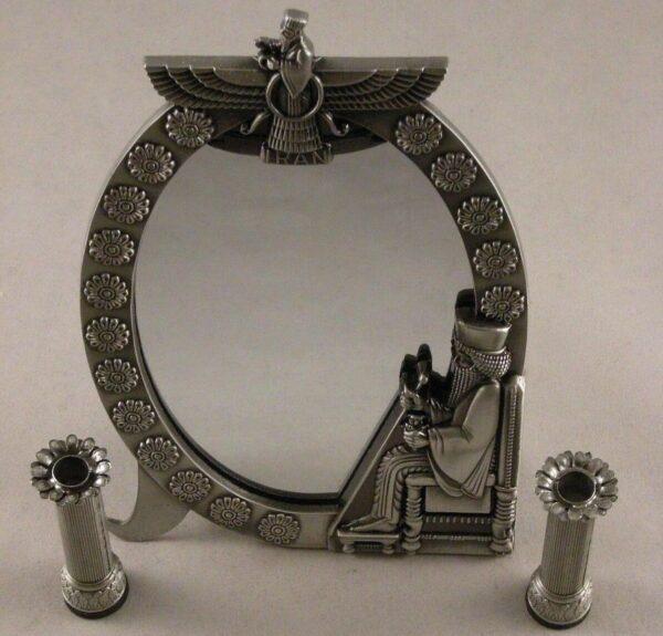 Persian Achaemenid Farvahar Mirror Candlestick + Statue