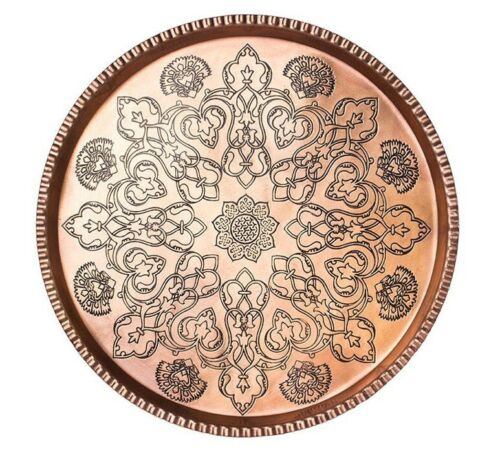 Persian Engraved Copper Plate Tray 619