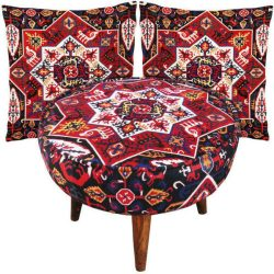 Persian Footstool Pouf Kilim Design with Cushion