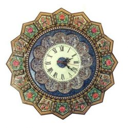Khatam Kari & MinaKari Wooden Inlaid Wall Clock 09