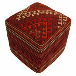 Handmade Persian Kilim Footstool Pouf 511506