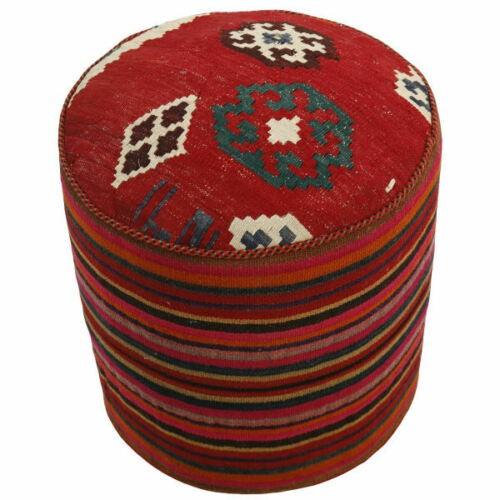 Handmade Persian Kilim Footstool Pouf h107
