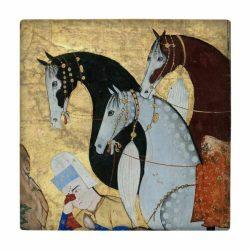 Persian Miniature Art Tile, Horses wk186