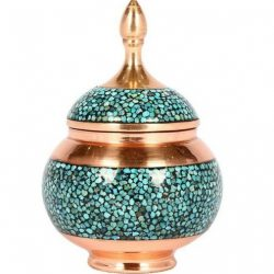 Persian Inlaid Turquoise Candy Sugar Nut Bowl 02
