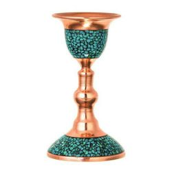 Persian Inlay Turquoise Copper Candlestick