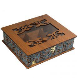 Luxury Wooden Tea Bag Box, Termeh Design LB54