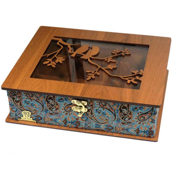 Luxury Wooden Tea Bag Box, Termeh Design LB63