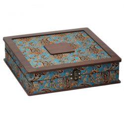 Luxury Wooden Tea Bag Box, Termeh Design LB014